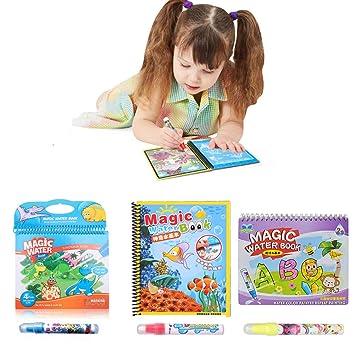 3Pcs Libros para Colorear, KENROLL Reutilizable Libro de Agua mágica cojín de Dibujo con Pluma