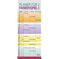 Farbenspiel - Planer für 2 237619 2019: Familienplaner mit 3 breiten Spalten. Familienkalender mit farbigen Wochen, Ferienterminen, Vorschau bis März 2020.