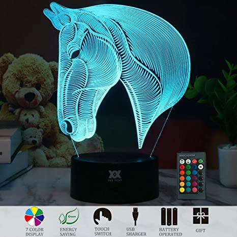 New Animal Catoon Horse Night Light Table Desk Optical Illusion Lamps Lights LED Table Lamp Xmas Home Love Brithday Children Kids Baby Decor Toy Christmas Gift Dinosaur