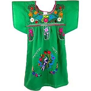 b2e63979cf Amazon.com  Liliana Cruz Embroidered Mexican Youth Girls Dress (0 ...