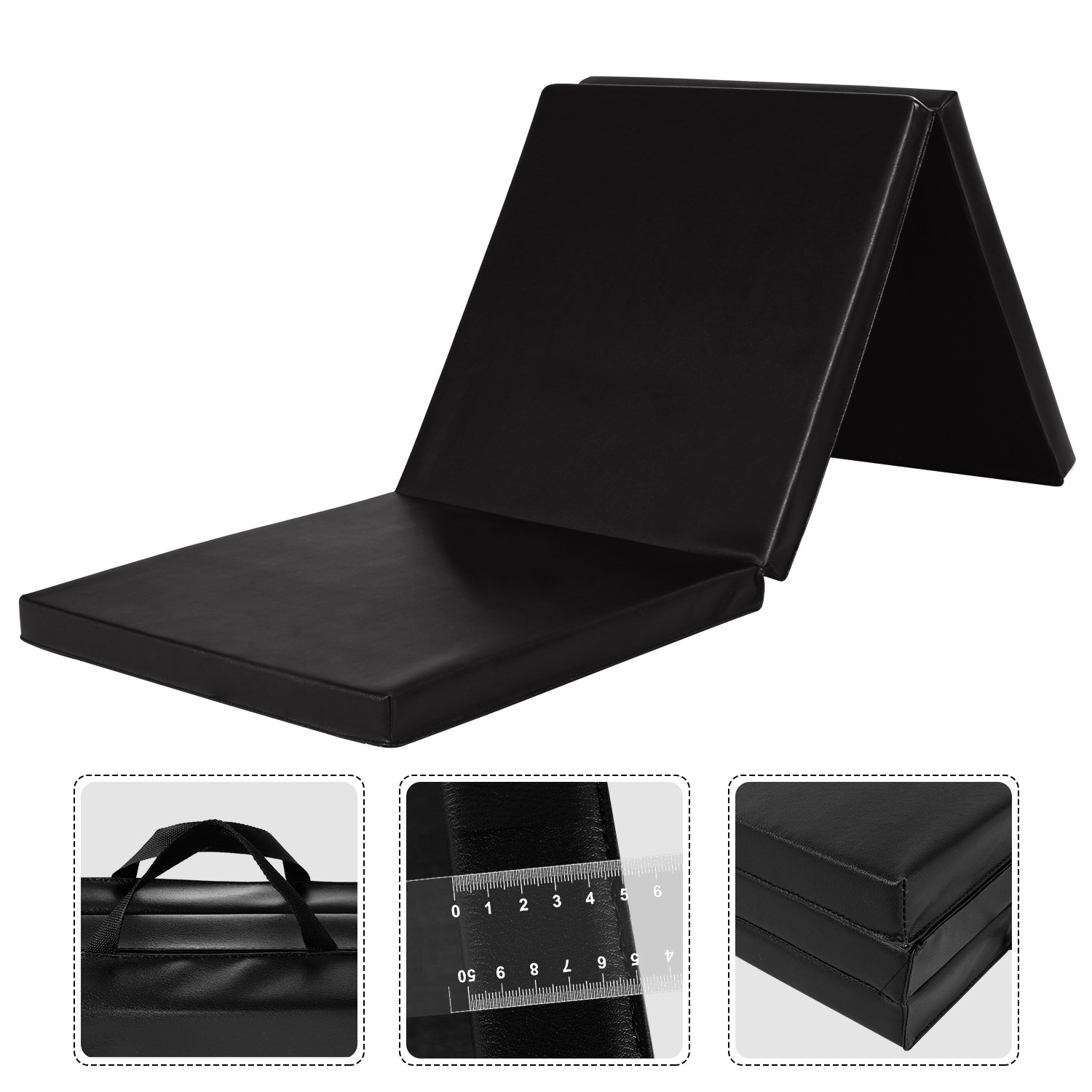 Leapair PU Leather Tri-Fold 2-Inch Thick Exercise  Pad, Black, 2 x 6 Feet