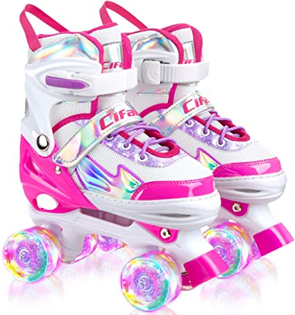 Cifaisi Roller Skates for Girls and Kids 4 Sizes Adjustable Roller Skates with Light up Wheels and Shining Upper Design