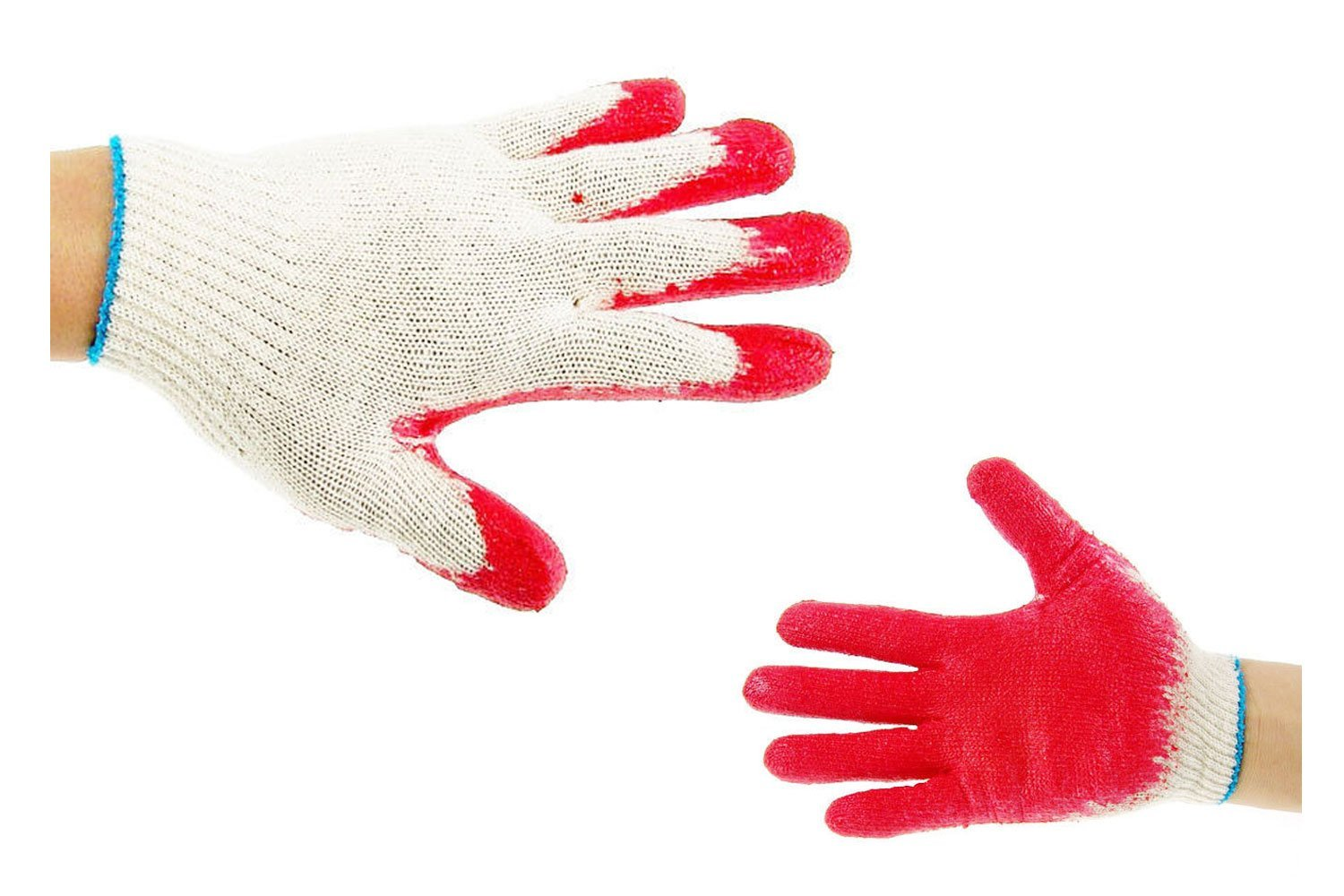 100 Pairs String Knit Red Palm Latex Dipped Gloves, Made in Korea
