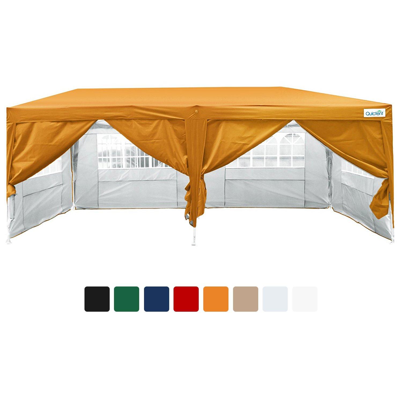 amazoncom quictent 20x10 ez pop up canopy tent instant canopy 6 walls wfree carry bag 100 waterproof 7 colors orange garden outdoor