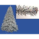 Vickerman Pre-Lit Sparkling Silver Full Artificial Tinsel Christmas Tree with Clear Lights, 4'