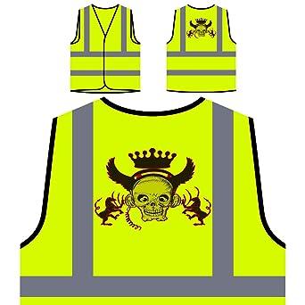 Crown King Skull Queen Art Divertida novedad Chaqueta de seguridad amarillo personalizado de alta visibilidad a611v