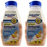 Sugar Free Antacid Orange Cream Flavor 180 Chewable Tablets Equate - Compare to Tums (2 Bottles of 90 Each)