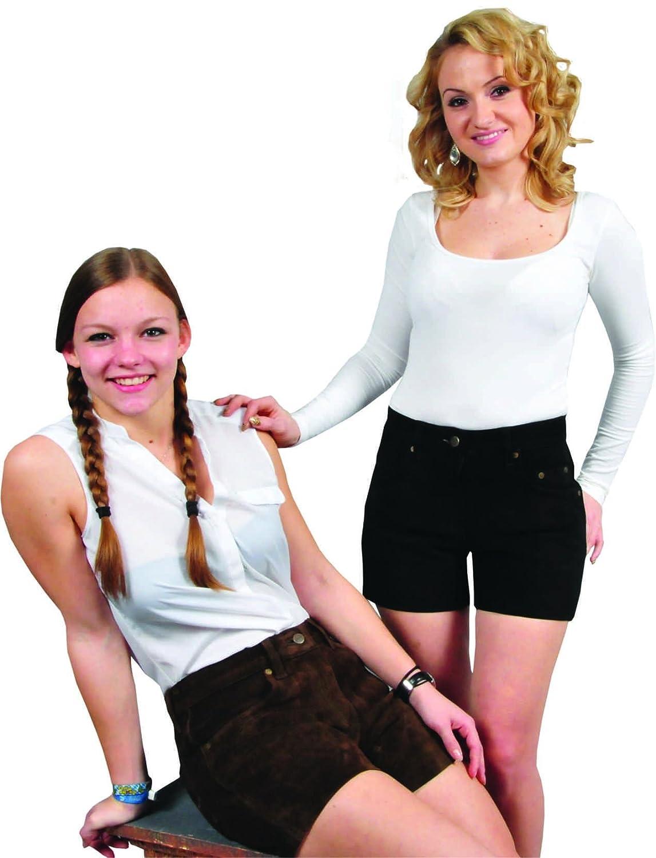 Damen Lederhose - kurz 5 Pocket -Echt Wild Leder-kurze Trachtenlederhose-Ledershorts -Damenshorts Leder Hose Hotpants Schwarz-Braun