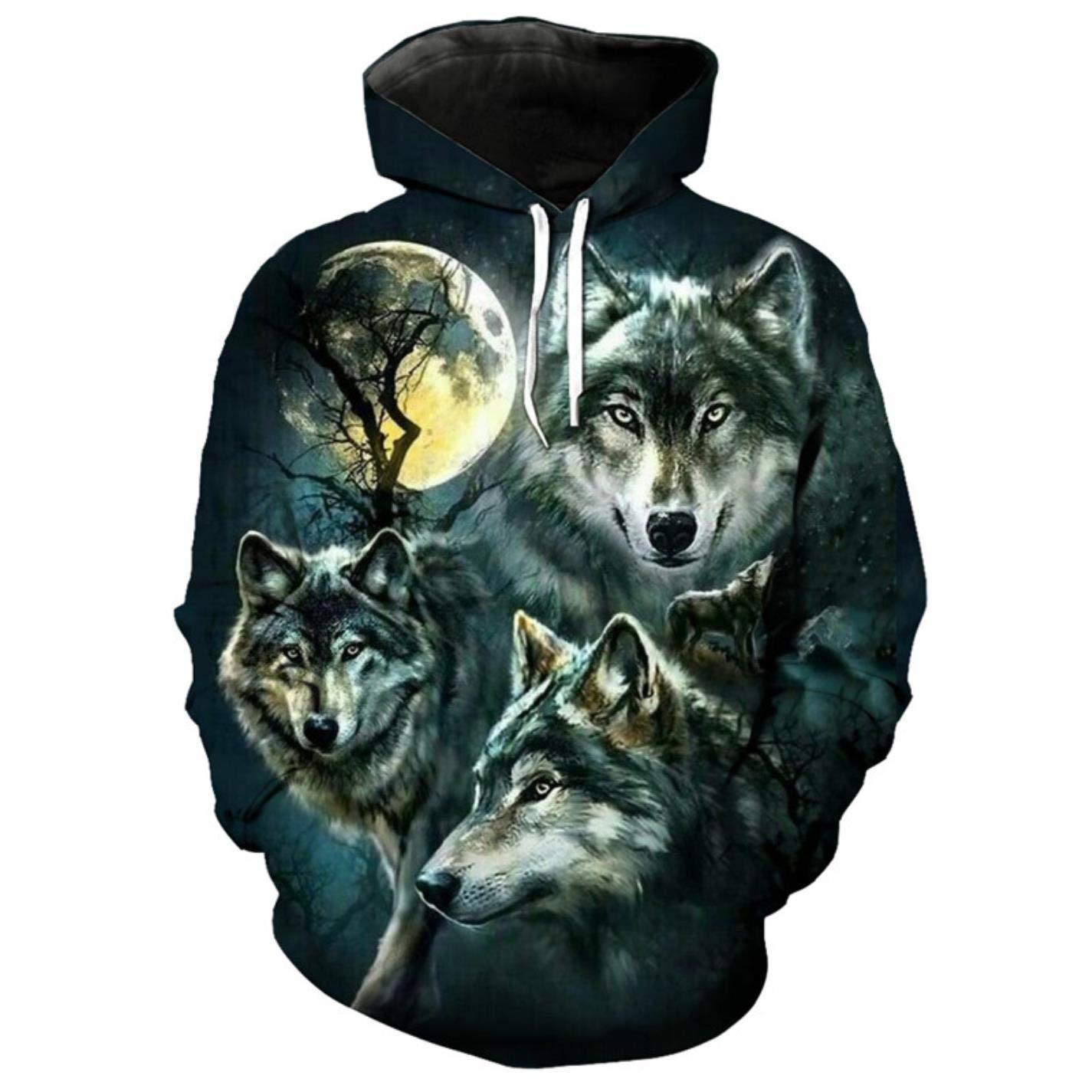 Mens 3D Hoodie Moon Wolf Print Streetwear Wolf Sweatshirt