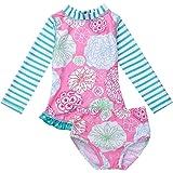 Agoky Baby Mädchen Langarm Badeanzug Blumendruck Tankini Bikini SetBademode Badewindelhose Schwimmanzug Badebekleidung für Kleinkind 0-24 Monate