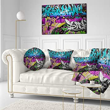 Wall Art Canvas Picture Print Urban Graffiti Wall in Primary Colors 3.2