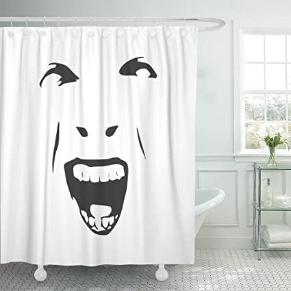 TOMPOP Shower Curtain Demonic Ugly Face Devil Scream Character Demon Monster Screaming Open Mouth As Front