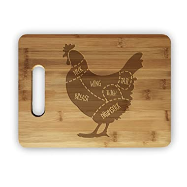 Chicken Meat Map Laser Engraved Bamboo Cutting Board - Wedding, Housewarming, Anniversary, Birthday, Holiday, Gift
