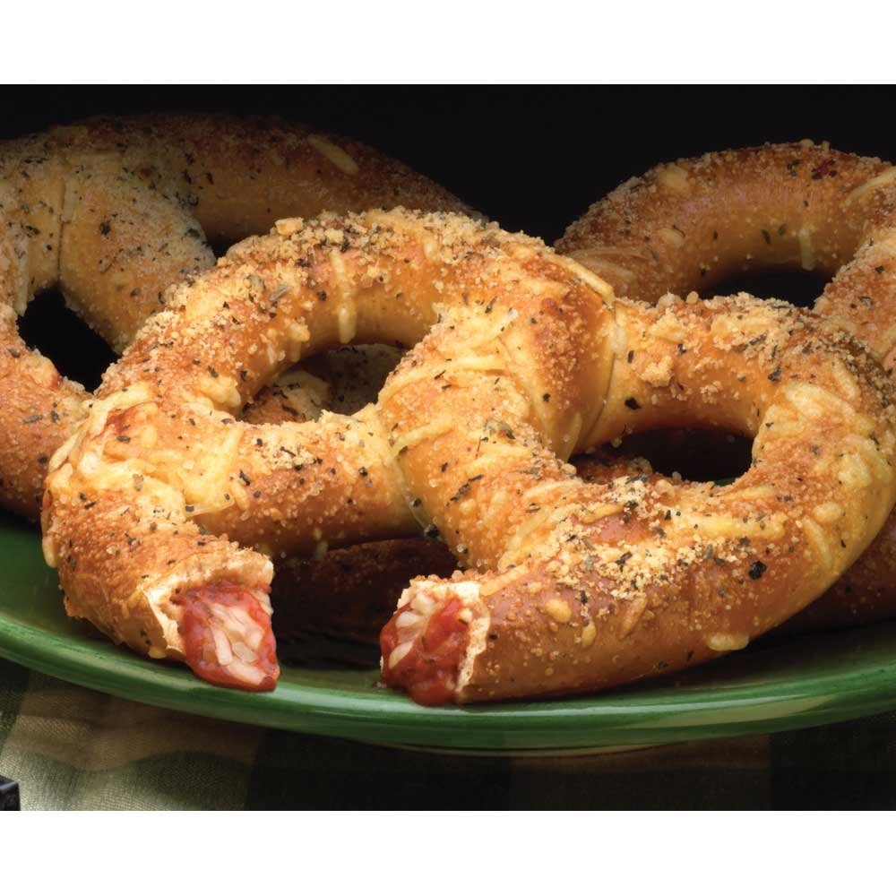 J and J Snack Twisted Pizza Pretzel Fillers -- 24 per case.