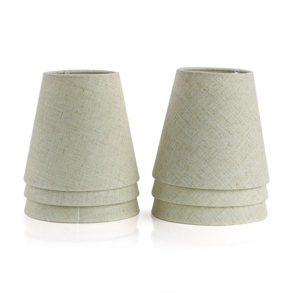 Fuloon Lot de 6 Pièces Abats-jour de Lampe en Tissu pour Lustre Applique Type de Bougeoir (Blanc)