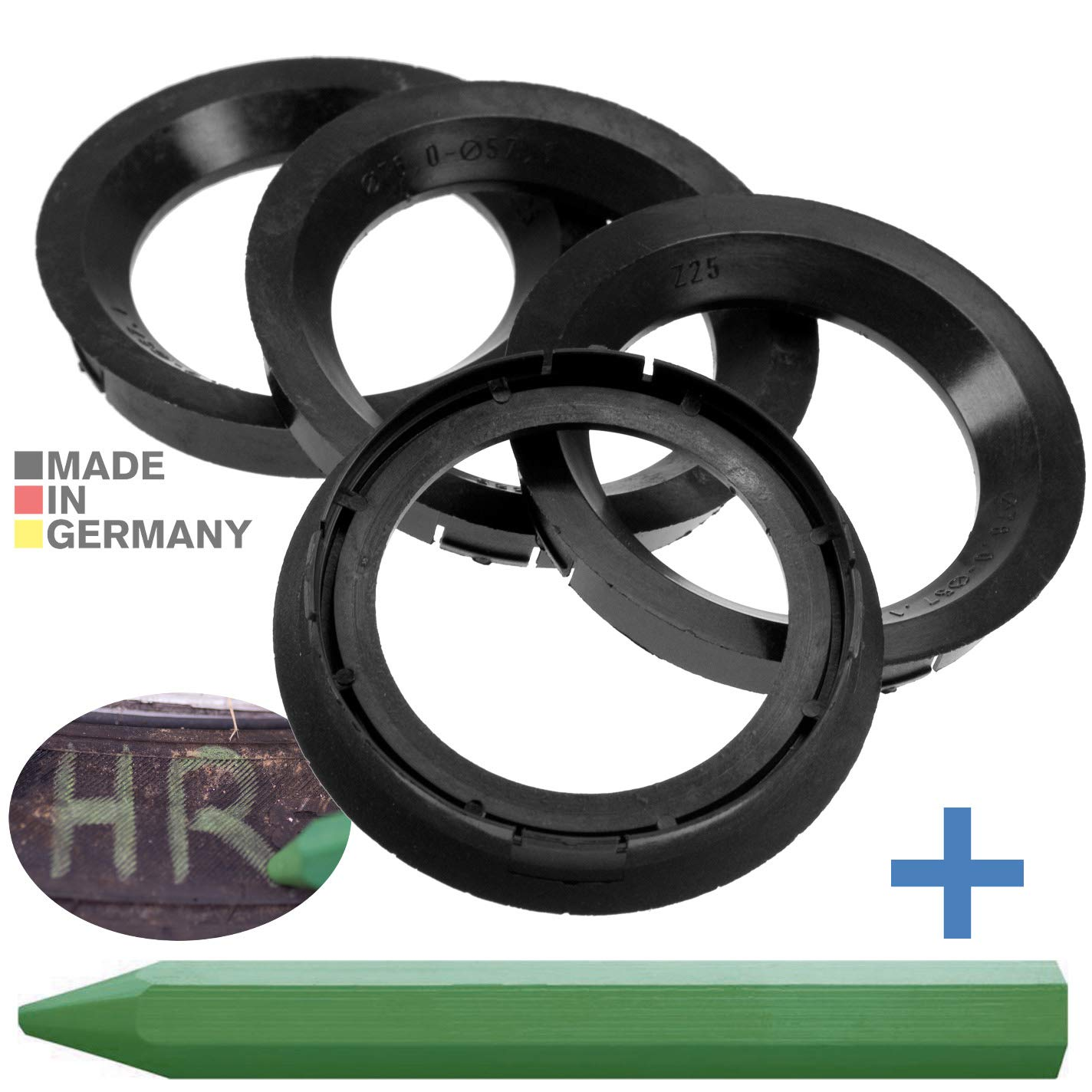 CRK 4X Zentrierringe 76, 0 x 57, 1 mm schwarz Felgen Ringe Made in Germany RKC