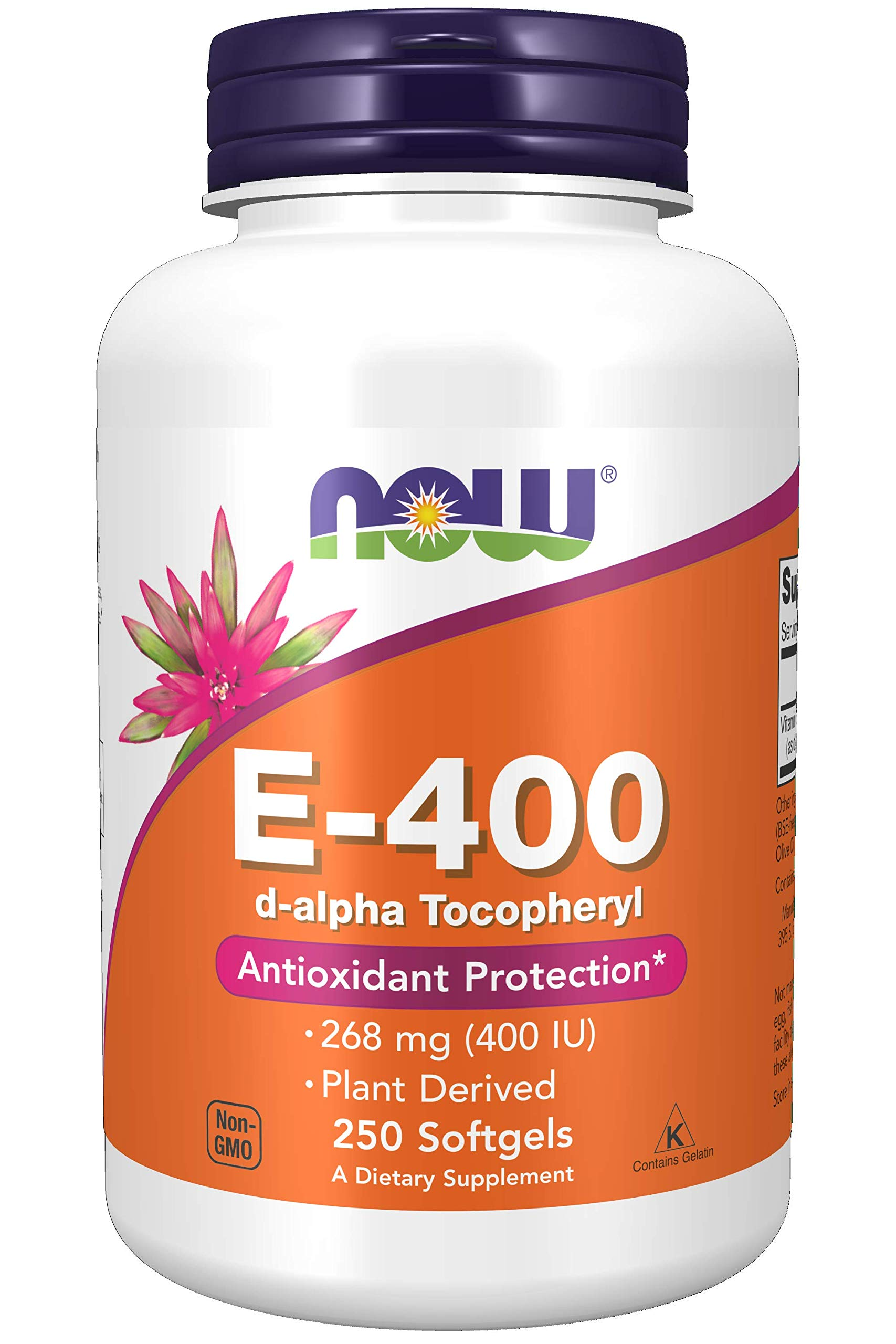 Now Supplements Vitamin E-400 IU D-Alpha Tocopheryl, Antioxidant Protection, Softgels, 250 Count (Pack of 1)