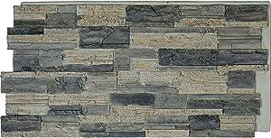 """Ekena Millwork PNU24X48CASR Cascade Stacked StoneWall Faux Stone Siding Panel, 48 5/8""""W x 24 3/4""""H x 1 1/4""""D, Smokey Ridge"""