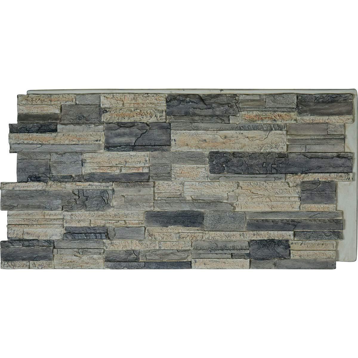 Ekena Millwork PNU24X48CASR Cascade Stacked, Stonewall Faux Stone Siding Panel, 48''W x 24''H x 1 1/4''D Smokey Ridge by Ekena Millwork