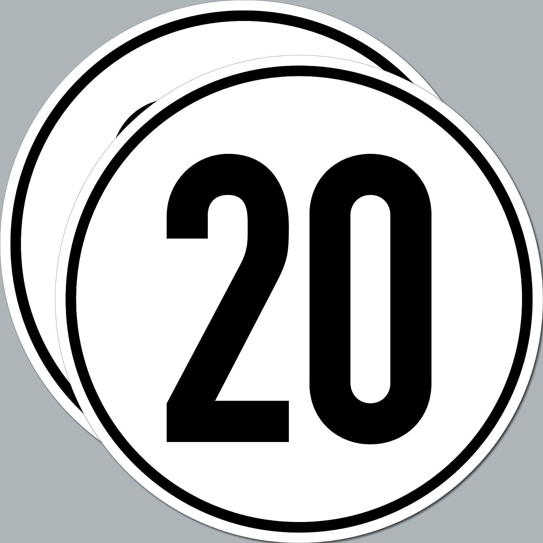 Greenit 2 Stück Aufkleber Sticker Schild 20 Km H Kmh Geschwindigkeit Für Traktor Bagger Mähdrescher Erntemaschine Auto