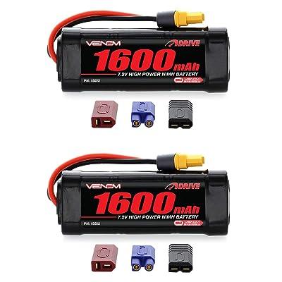 Venom 7.2V 1600mAh 6-Cell NiMH Battery with Universal Plug (EC3/Deans/Traxxas/Tamiya) x2 Packs: Toys & Games