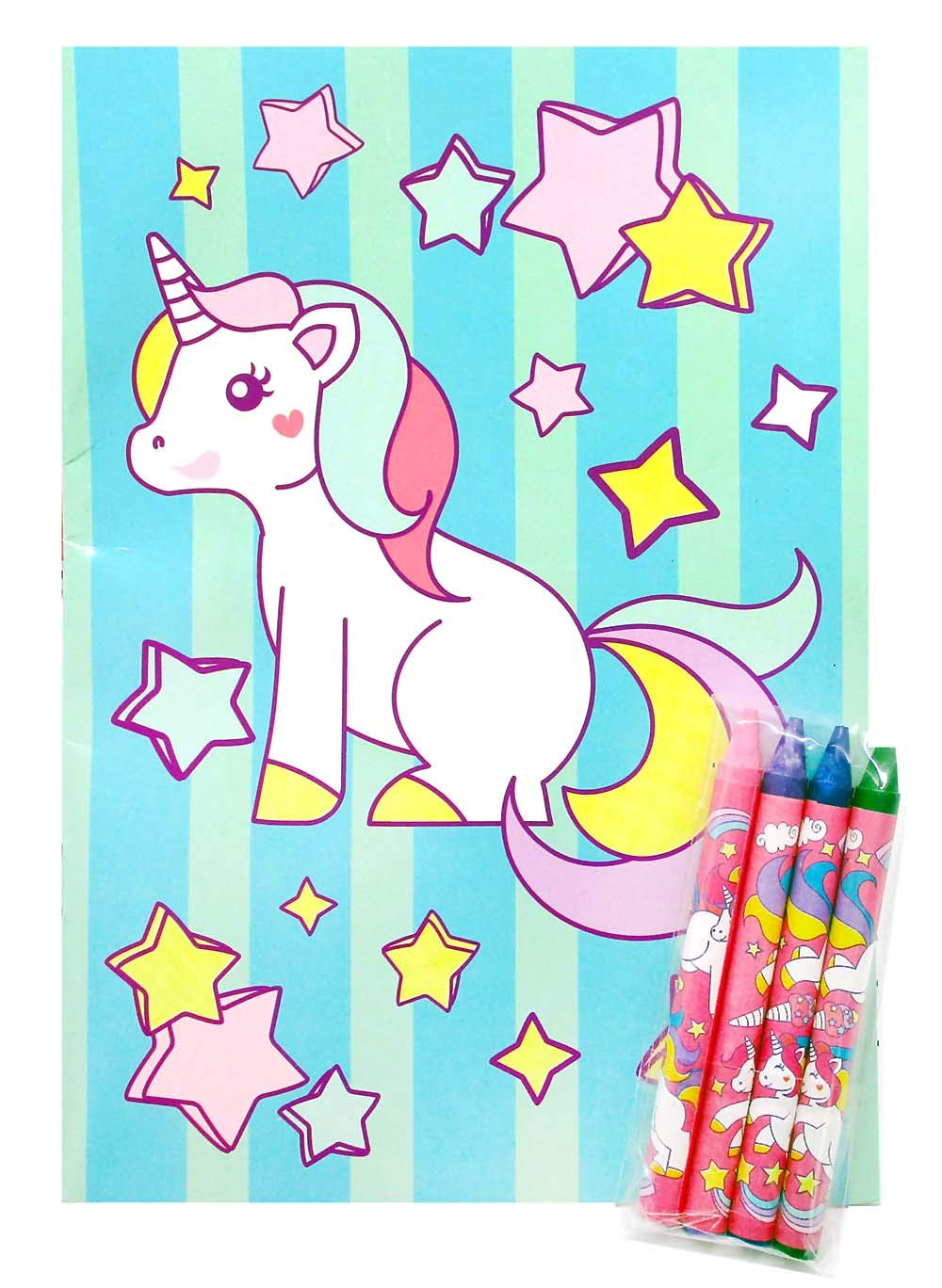 Unicorn Coloring Books with Crayons Party Favors, Set of 12 6