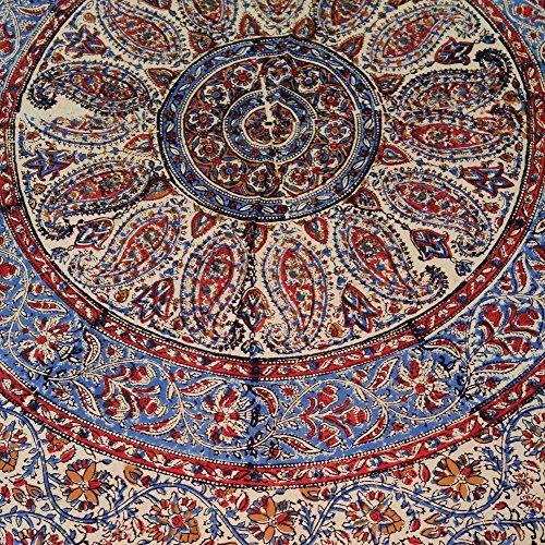 Homestead Kalamkari Block Print Round Cotton Tablecloth 72