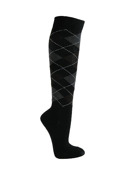 33064f2fe Argyle Fashion Women Ladies Colorful Knee High Socks - Black Brown Gray