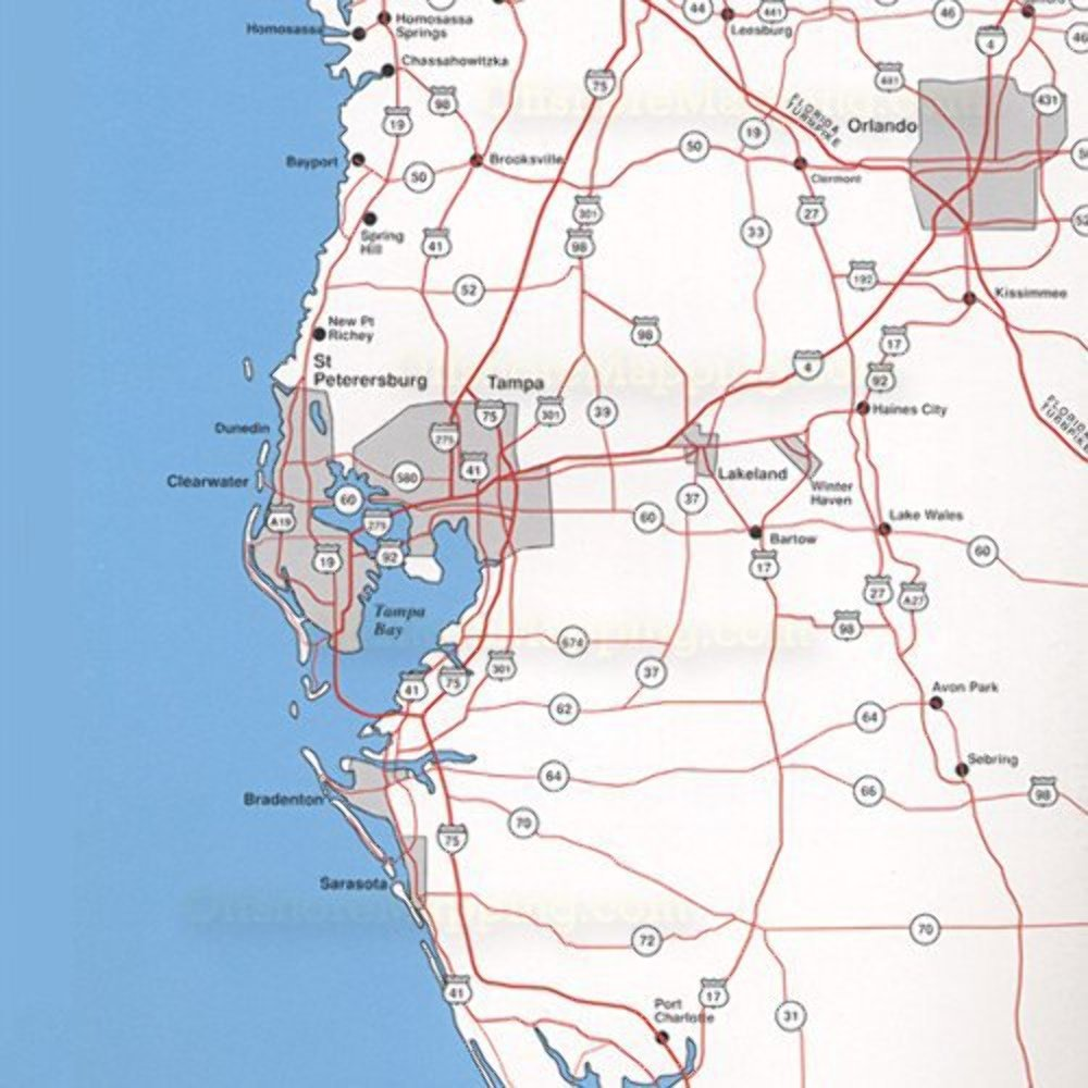 Top Spot Fishing Map from West Coast Florida Offshore Homosassa to Everglades City