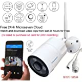 Microseven HD Cloud Cam Works with Alexa,Free 24Hr Cloud, Two-Way Audio 1080P WiFi Wide Angle (170°) Outdoor IP Camera,Built-in Microphone & Speaker +128GB SD Slot, ONVIF, Live Streaming microseven.tv