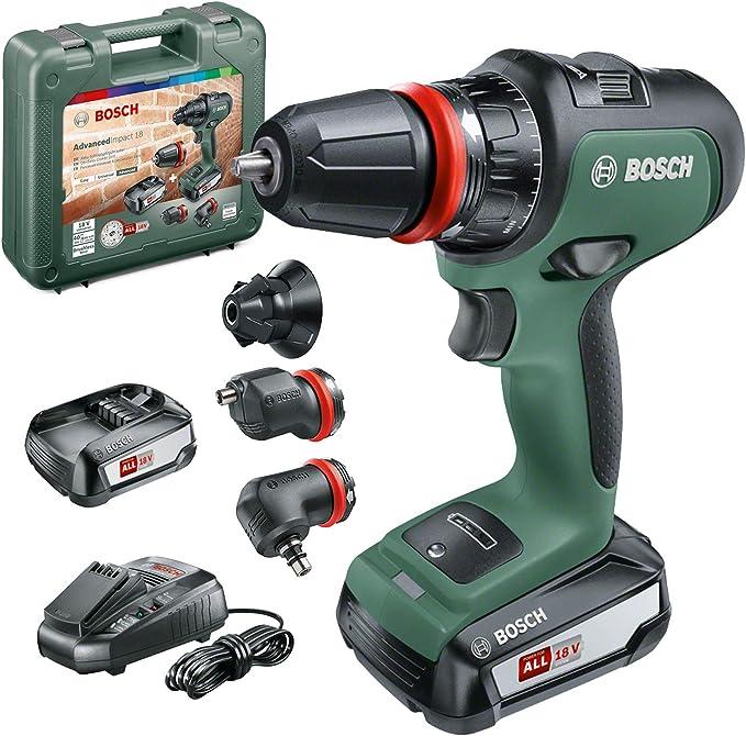 Bosch - Atornillador combinado AdvancedImpact 18 (2 baterías, sistema de 18 V, con accesorios, en caja): Amazon.es: Bricolaje y herramientas