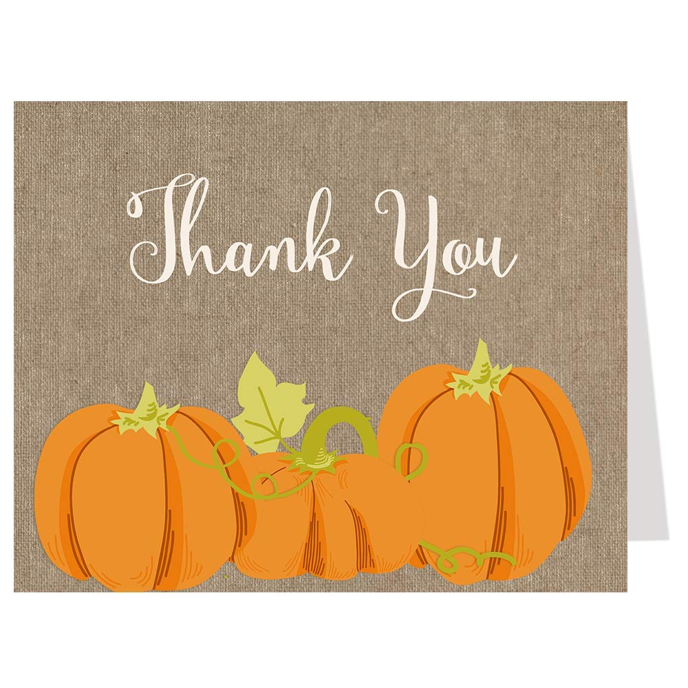 Fall Thank You Cards, Autumn, Pumpkin, Baby Shower, Girl, Boy, Gender Neutral, Bridal, Wedding, Birthday, Personal, Business, Rustic, Country, Harvest, 50 Folding Notes & Envelopes, Burlap Pumpkin by The Invite Lady