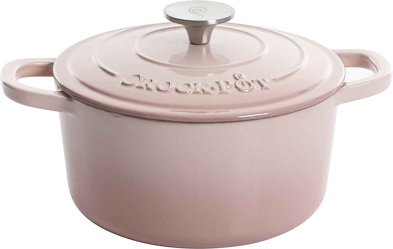 Crock Pot Artisan Round Enameled Cast Iron Dutch Oven, 3-Quart, Blush Pink