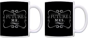 Bridal Shower Gifts Future Mr & Mrs Bride Groom Wedding Gifts 2 Pack Gift Coffee Mugs Tea Cups Black