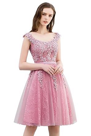 9c897d8f95e166 Misshow Damen Spitzenkleid Swing Kleid Rosa Knielang A Linie Elegant Tüll  Brautjungfern Cocktailkleid Abendkleider
