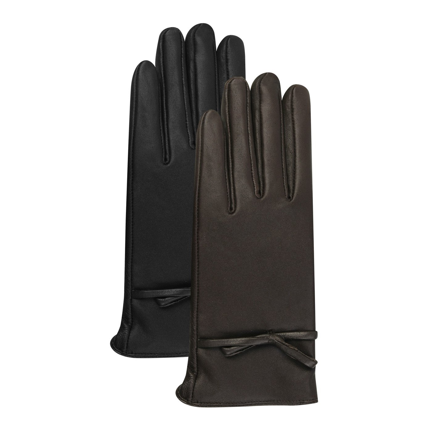 Luxury Lane Women's Cashmere Lined Lambskin Leather Gloves with Bow - Chocolate Large