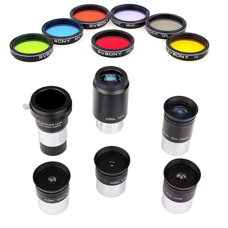 FidgetFidget 5X 1.25インチ PLOSSL 接眼レンズ + 2X バローレンズ + ムーンフィルター + CPLフィルター + 5色フィルター   B07NBK6N55