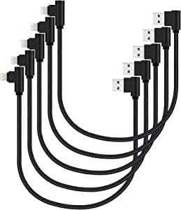 Short iPhone Charger 1ft 5 Pack Fast Charging Cable & Data Transfer Compatible with iPhone X XS XR 8 Plus 7 6 5 (Black)
