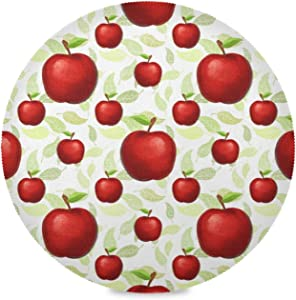 Fruit Apples Round Placemat 15.4inch Non-Slip Heat-Resistant Table Mats for Dinning Table (Set of 4)