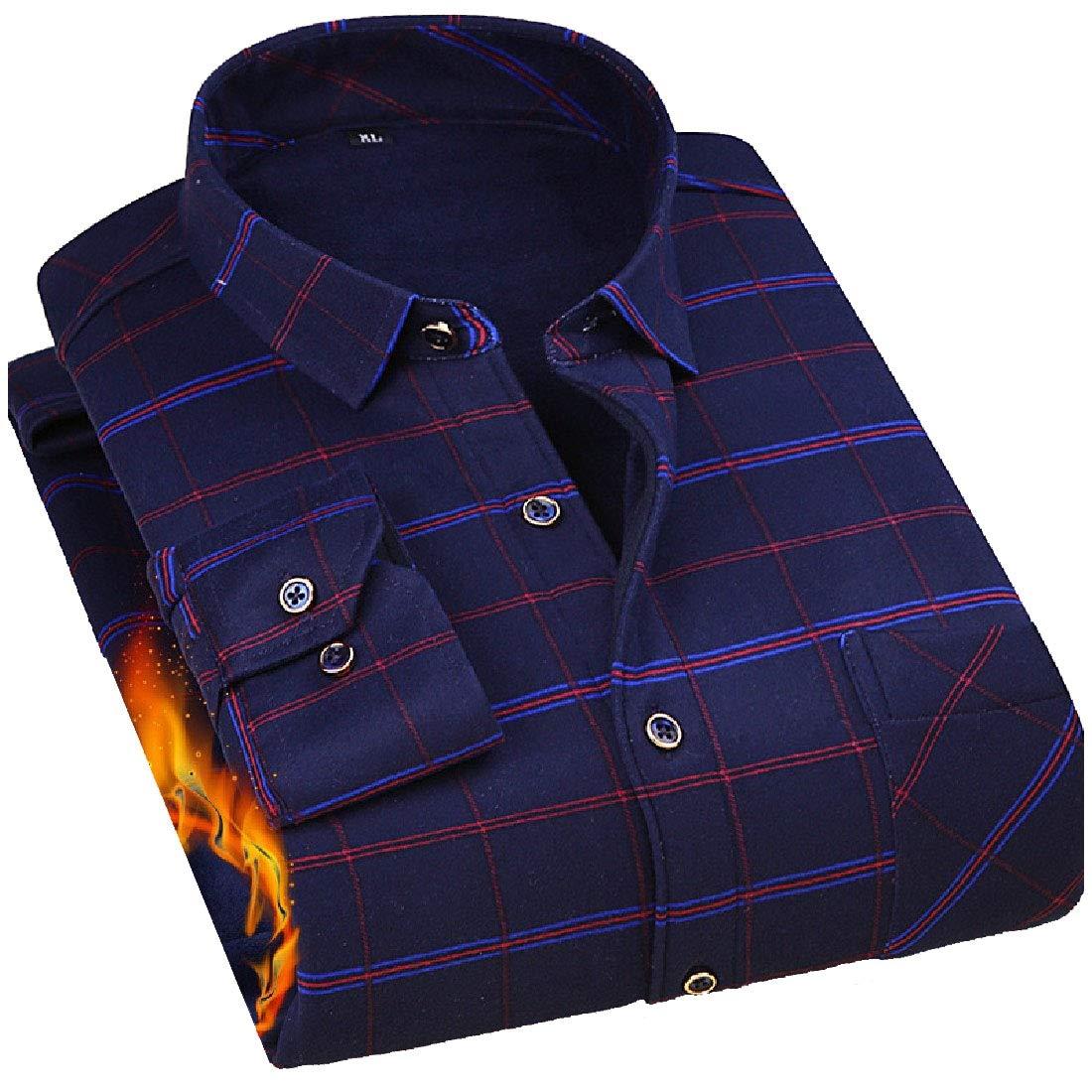 YUNY Men Leisure Warm Long Sleeve Button Turn-Down Collar Work Shirt AS2 XL