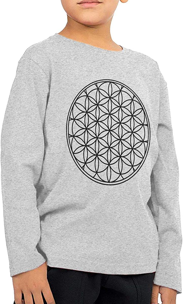 Flower of Life Sacred Geometry Childrens Long Sleeve Crew Neck Cotton T-Shirts Sport Tops for 2-6T Baby