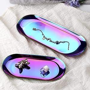 lemonadeus Oval Tray Jewelry Tray Towel Dish Food Fruit Tray Cosmetics Accessory Earrings Storage Multi-uses Decor Tray (Rainbow Tray(Set of 2))