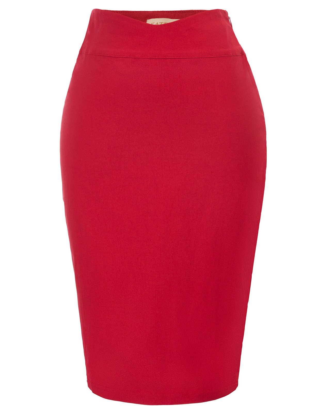 Kate Kasin Women's Solid Wear to Work Bodycon Midi Skirts Business Office Size L Red KK926-2