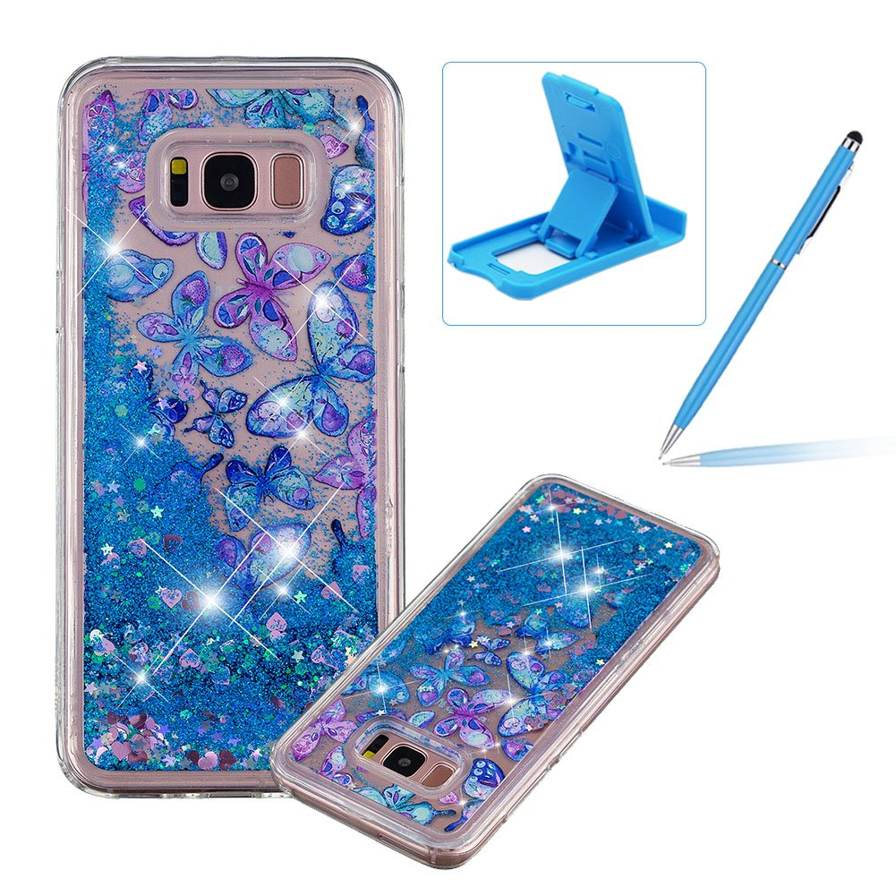 Liquid Case for Galaxy S8,Anti-Scratch Rubber Cover for Galaxy S8,Herzzer Stylish Blue Butterflies Printed Stars Glitter Love Hearts Quicksand Sequins Soft Flexible Crystal Case