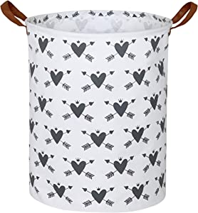 CLOCOR Laundry Basket,Laundry Hamper,Collapsible Storage Bin,Canvas Fabric Clothes Baskets,Nursery Hamper for Home,Office,Dorm,Gift Basket (Grey Heart-Arrows)