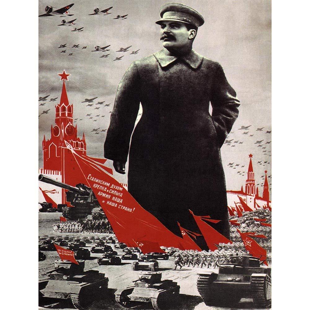 Wee Blue Coo Political Propaganda Army Stalin Kremlin Soviet Union Vintage Art Print Framed Poster Wall Decor 12X16 inch Politico Esercito sovietico Unione Vintage ▾ Manifesto Parete