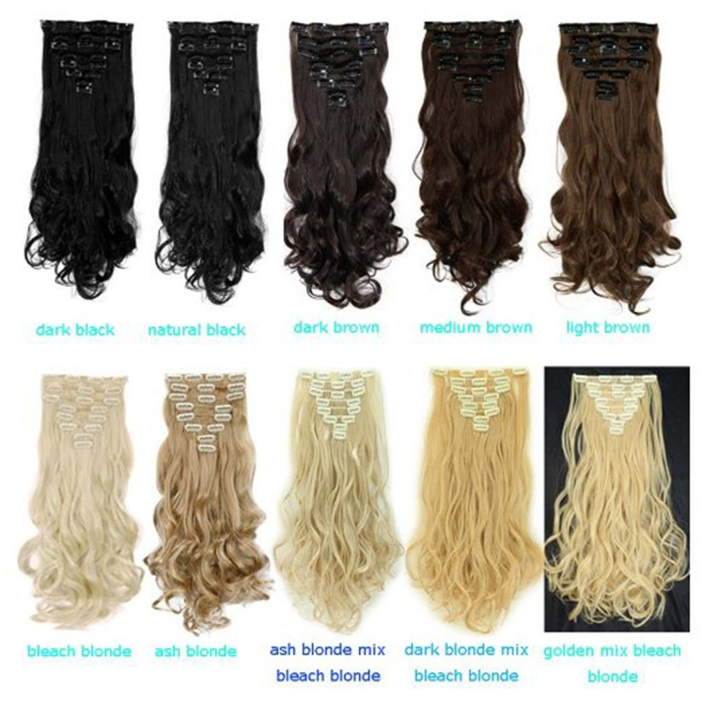 Clip in Hair Extensions Synthetic Full Head Charming Hairpieces Thick Long Straight 8pcs 18clips for Women Girls Lady (24 inches-wavy, medium brown) by Beauti-gant (Image #8)