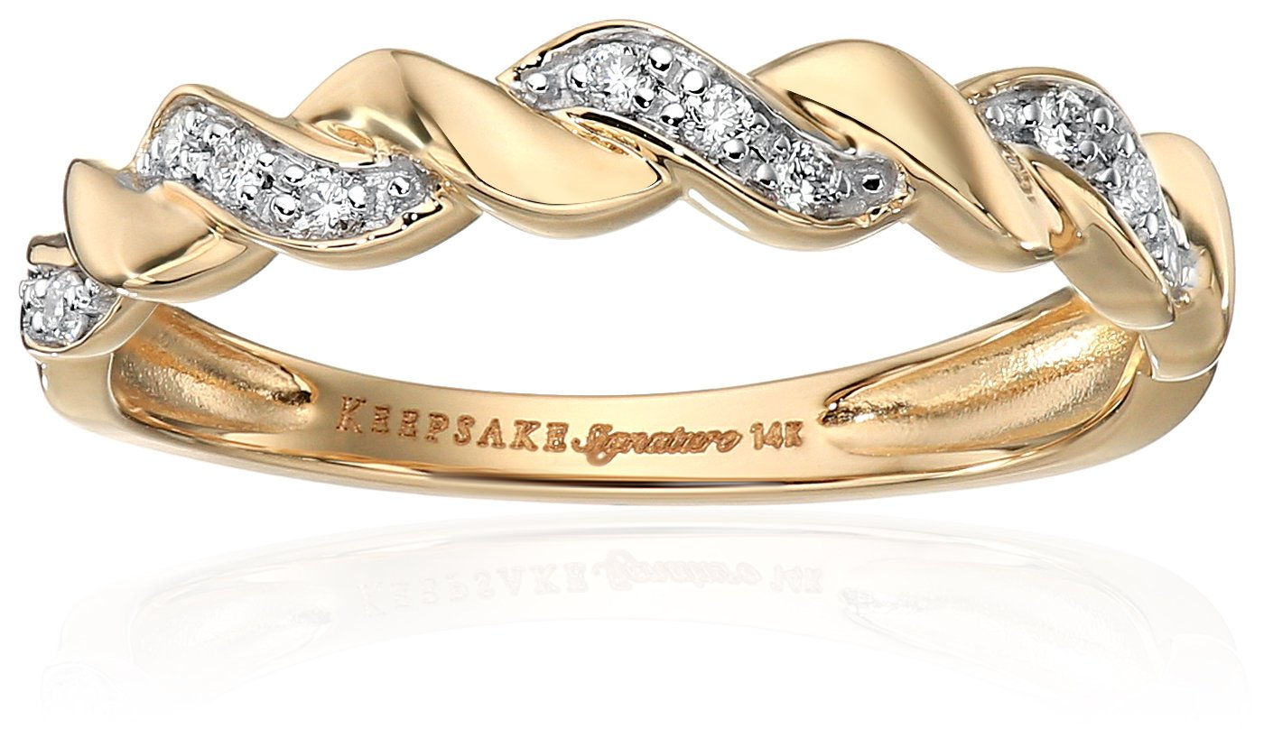 Keepsake Signature 14k Yellow Gold Diamond Anniversary Stackable Ring (1/10cttw, H-I Color, I1 Clarity), Size 8