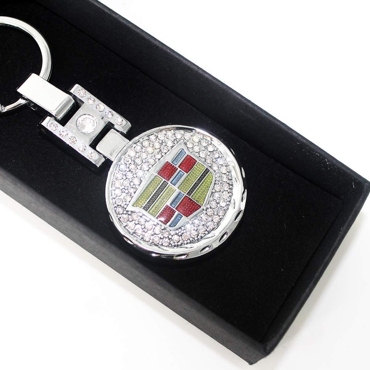 YI MEI DA Metal Alloy Car Keychain Key Ring Key Chain Fashion Crystal for Cadillac Emblem Decoration