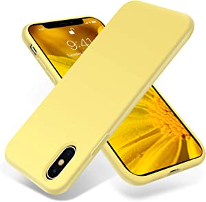 OTOFLY iPhone Xs Max Case,Ultra Slim Fit iPhone Case Liquid Silicone Gel Cover with Full Body Protection Anti-Scratch Shockproof Case Compatible with iPhone Xs Max, [Upgraded Version] (Yellow)